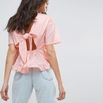 Lost Ink Frill T-Shirt With Tie Up Bow Back at asos.com