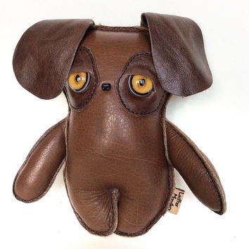 Monster Doll Plush Puppy, Great Gift idea , Handmade Toy Dog By Leather Monsters, art softie for her, him or kids