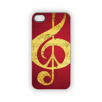 Red iPhone Case, Peace, Music, Red, Gold, Mustard, Yellow, Black, Music, Peace Sign, 5, 4S, 4,  Valentine