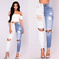 Fashion Personality Multicolor Hollow Ripped Bodycon Show Thin Jeans Trousers Women Pants