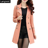 TANGNEST Turn-down Collar Trench Coat Women 2016 Fashion Slim Fit Patchwork Double Breasted Coats Solid Long Windbreaker WWF352