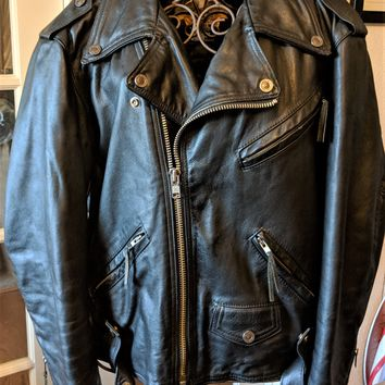 Harley Davidson Mens Black Leather Biker Motorcycle Jacket Made in USA Size L