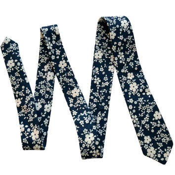 Blue and White Floral Skinny Tie
