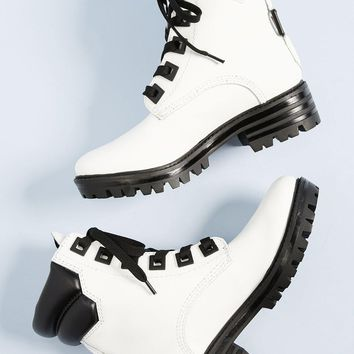 KENDALL + KYLIE | East Leather Combat Boot - White