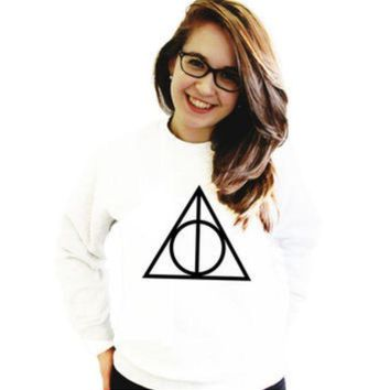 DCCKJ1A [Deathly Hallow] Death Hallows printed solid color women's sweater