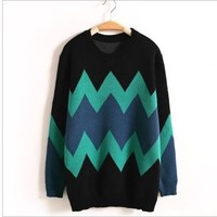 A 080105 Retro hit color loose sweaterA1 a