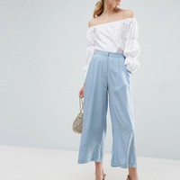 ASOS Pleat Front Woven Culotte Pants at asos.com