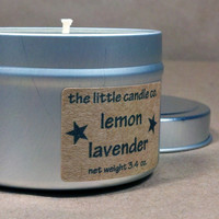Soy Candle Tin Lemon Lavender Scented Dye Free by littlecandles