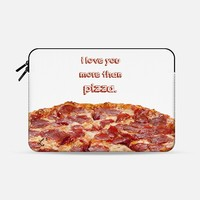 "I Love You More Than Pizza - Foodie Macbook Pro 13"" sleeve by Love Lunch Liftoff 