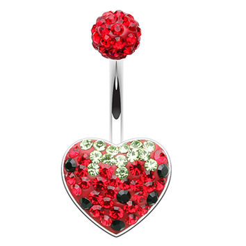 Strawberry Heart Sparkling Belly Button Ring