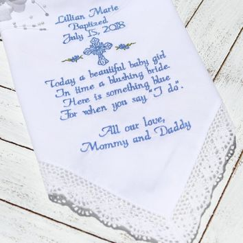 Baptism gift, girl or boy baptism embroidered handkerchief, baptism memento gift personalized baptism gift, personalized baptism memento