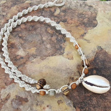 Mens Hemp Necklace, Surfer Necklace, Cowrie Shell Necklace, Mens Jewelry, Hemp Jewelry, Wood Necklace, Handmade, Mens Hemp, Shell Necklace