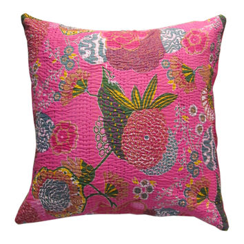"24"" Pink Color Indian Kantha Thread Floral Cotton Cushion Pillow Covers India Ethnic Decorative Art"
