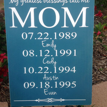 Personalized Moms Gift - Moms Greatest Blessings - 11x15 Custom Wood Sign, Mom's Day Gift,