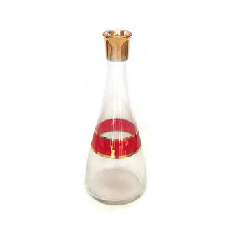 Mid Century Vintage Glass Carafe-Cranberry and Gold-Wine Decanter-Water Bottle-Cocktails-Retro Barware-Juice Pitcher