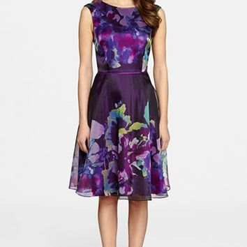 Women's Tahari Organza Fit & Flare Dress,