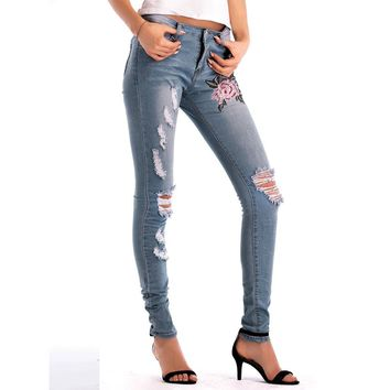 Women Skinny Ripped Hole Jeans Pants High Waist Stretch Slim Pencil Trousers