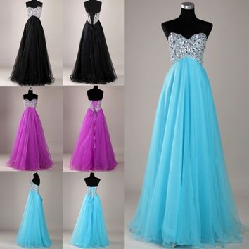 Corset Beaded Ball Gown Quinceanera Prom Pageant Party Wedding Dresses Long
