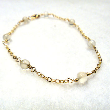 White moonstone bracelet - wire wrapped - gold filled - June birthstone - bridal jewelry- wedding accessory- rosary style