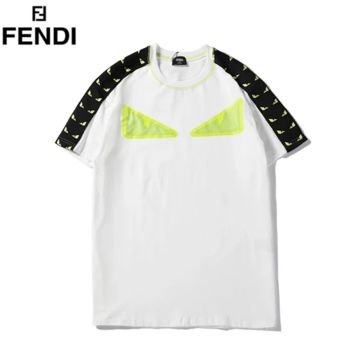 Fendi Summer New Fashion Eye Print String Mark Women Men Top T-Shirt White