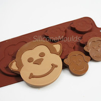 4+1 Monkeys Zoo Animals Chocolate Silicone Mould Candy Cake Topper Silicon Mold - resin / craft / wax / soap