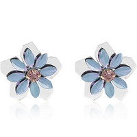 White mirrored flower stud earrings - earrings - jewelry - women