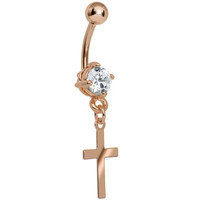 Rose Gold Crystalline Gem Cross Dangle Belly Ring | Body Candy Body Jewelry