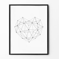Abstract Geometric Print, Heart Wall Art, Space Print, Home Decor, Scandinavian Art, Black and White, Minimalist Decor, Heart Shape