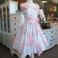 Vintage 1960s Style Dress Pink Roses Bridesmaids Bridal Shower Tea Party Weddings