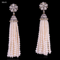 Pearl 18kt Gold Diamond Tassel Earrings