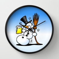 Snowman drinking a beer Wall Clock by Cardvibes