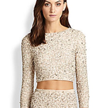 Alice + Olivia - Lacey Embellished Crop Top - Saks Fifth Avenue Mobile