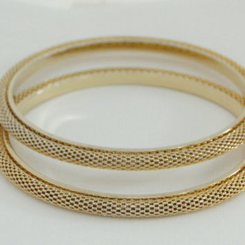 Two Bangle Bracelets Vintage Gold Mesh Bracelet Pair Dollar Days Sale