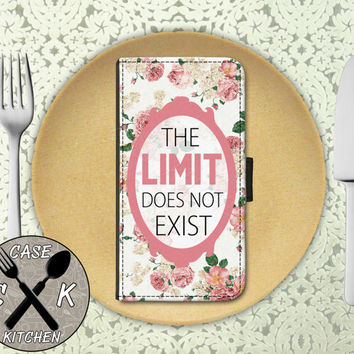 The Limit Does Not Exist Quote Roses Pattern Flower Cute Tumblr Wallet Phone Case For iPhone 4/4s and iPhone 5/5s and 5c iPhone 6 and 6 Plus