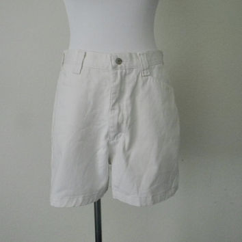 FREE usa SHIPPING 1990s  women's vintage high waist lee casuals cotton lycra spandex white retro hipster shorts size 12 M