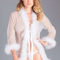 Be Wicked Lingerie White Short Marabou Robe