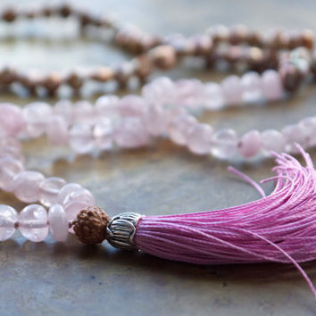 Rose quartz mala meditation necklace Yoga mala beads Pale pink rose quartz nuggets Long boho necklace Lilac pink tassel Pink pearl rosary