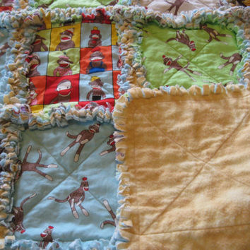 Sock Monkey Baby Boy or Girl Rag Quilt Blanket Unisex