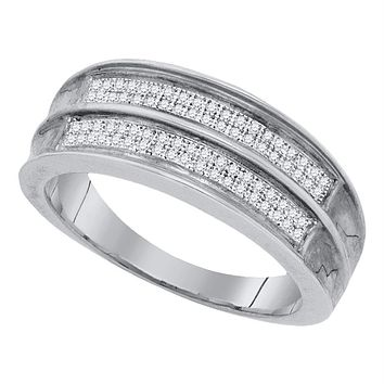 Sterling Silver Men's Round Pave-set Diamond Wedding Band Ring 1/4 Cttw - FREE Shipping (US/CAN)
