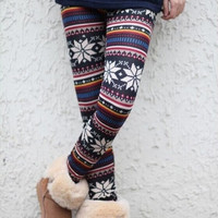 Two styles  Womens Xmas Snowflake Reindeer Knitted Warm Leggings Tights winter Pants ONE SIZE