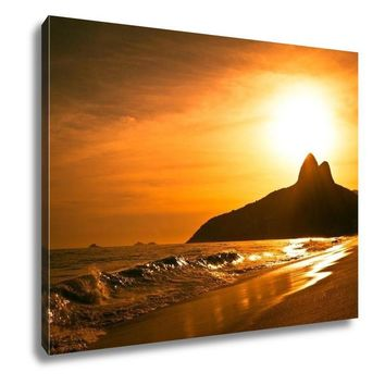 Gallery Wrapped Canvas, Warm Sunset On Ipanema Beach