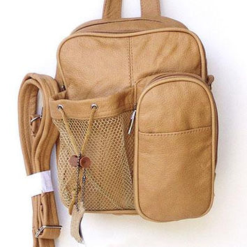 Genuine Leather Light Brown Backpack Crossbody Bag