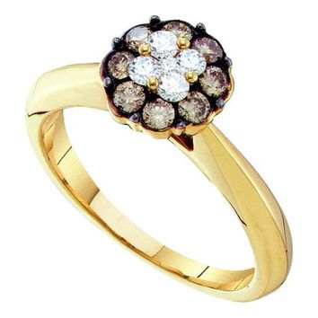 14kt Yellow Gold Womens Round Cognac-brown Color Enhanced Diamond Cluster Bridal Wedding Engagement Ring 1/2 Cttw