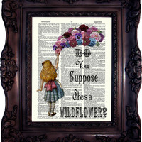 Alice in Wonderland Art Print Alice in Wonderland Decor Alice in Wonderland  Nursery Kid Room giclee wall Mad Hatter Party C526