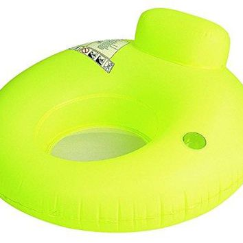 By PoolCentral 48 inch  Neon Yellow Water Sofa Inflatable Swimming Pool Inner Tube Lounger Float