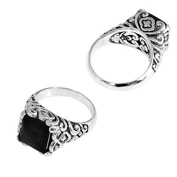 "SR-5441-ONX-8"" Sterling Silver Ring With Black Onyx"