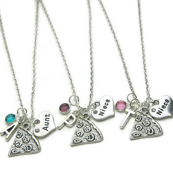 1 Aunt And 2 Nieces Necklaces, Aunt And 2 Nieces Pizza Necklaces, Aunt And 2 Nieces Necklaces, Necklace Aunt, Necklace 2 Nieces,Personalized