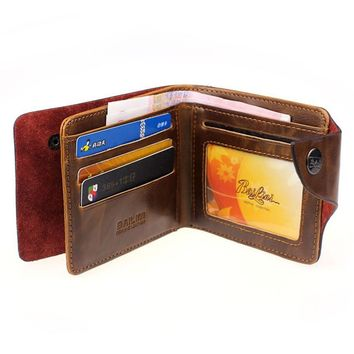 Hot sale Mens wallet men purse Retro Genuine Leather Bifold famous brand new dollar price credit card holder bag best gifts 2017