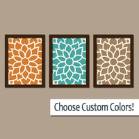FLOWER Wall Art Artwork Orange Teal Brown Bedroom Bathroom Picture Large Floral Dahlia Bloom Petals Set of 3 Trio Prints Home Decor Three