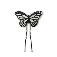 Iridescent and black butterfly bun pin, opalescent and black shiny butterfly, eco-responsible painted plastic hair pin (recycled CD)